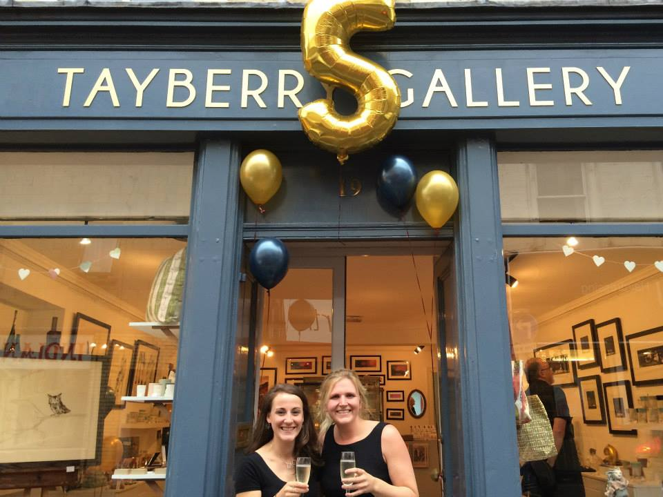 Sarah and Louise celebrating Tayberry Gallery's 5th birthday