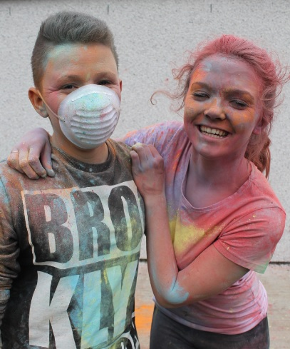 Pupils at Holi